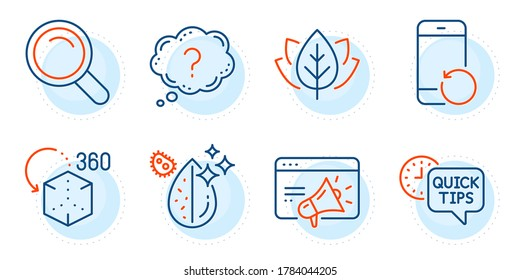 Question mark, Dirty water and Search signs. Quick tips, Recovery phone and Organic tested line icons set. Seo marketing, Augmented reality symbols. Helpful tricks, Backup smartphone. Vector