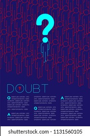 Question mark with doubt man icon pictogram in queue, Social issues: Rule concept magazine page layout design illustration isolated on dark  background, with copy space