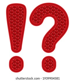 Question Mark And Exclamation Mark With 3D Pattern Vector Illustration. Question And Exclamation Mark Point Isolated On White Background