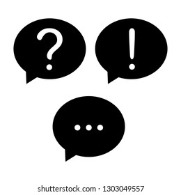Question mark, exclamation mark and ellipsis in a speech bubbles isolated on white.