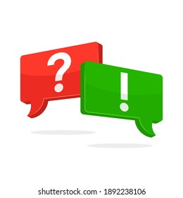 question mark and exclamation mark icon. online communication and learning concept. question answer. flat vector illustration isolated on white background