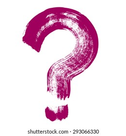Question mark hand brush drawing. Original  question symbol. Hand drawn question mark icon, brush drawing