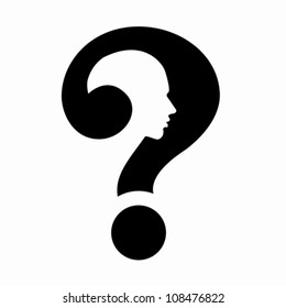 Question mark head symbol isolated on white. Education and innovation concept, vector
