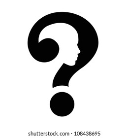 Question mark human head icon isolated on white, vector