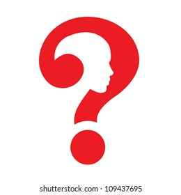 Question mark human head symbol isolated on white. Education and idea concept, vector