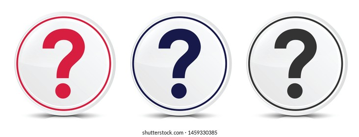 Question mark icon crystal flat round button set illustration design isolated on white background