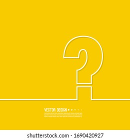 Question mark icon. Help symbol. FAQ sign on  yellow background. vector. minimal, outline. Quiz symbol.