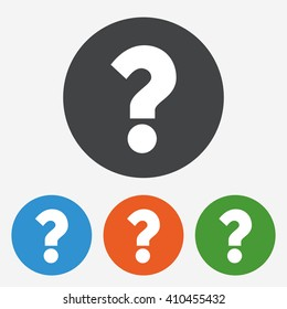Question mark icon. Help symbol. FAQ circle buttons with flat sign. Vector