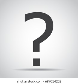 Question mark icon with shadow on a gray background. Vector illustration