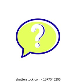 Question mark icon vector in bubble speech, help icon sign