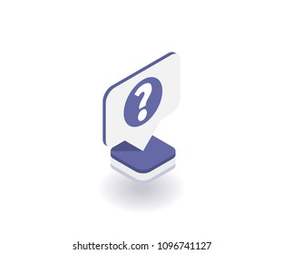 Question mark icon, vector symbol in flat isometric 3D style isolated on white background. Social media illustration.