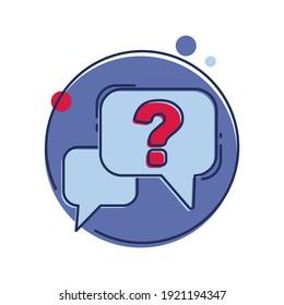 Question mark inside chat bubble. Quiz, query, doubt, questions concept. Flat style illustration.