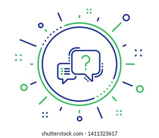 Question mark line icon. Quiz chat bubble sign. Quality design elements. Technology question mark button. Editable stroke. Vector