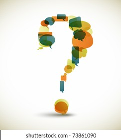 Question mark made from blue speech bubbles with retro colors