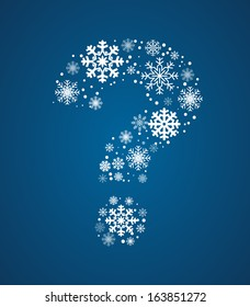 Question mark made from frosty snowflakes, vector font