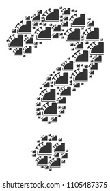 Question mark mosaic formed from cash register items. Vector cash register icons are organized into question mark figure.