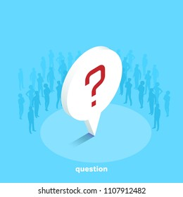 question mark on a blue background, people silhouettes, isometric image