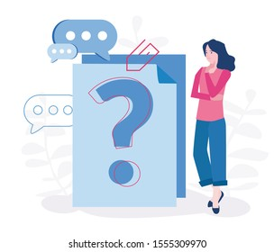Question mark on document. Business woman asking questions around a huge question mark on paper. Vector illustration.for web banner, infographics, mobile website.