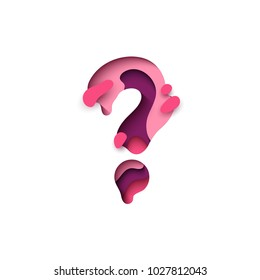 Question mark of paper cut. Design 3d sign isolated on white background. The figure from melting liquid, alphabet letter font