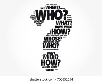 Question mark - Questions whose answers are considered basic in information gathering or problem solving, word cloud background