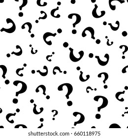 Question mark seamless pattern . Vector seamless pattern with question marks. Monochrome hipster background. Hand drawn random black punctuation marks.