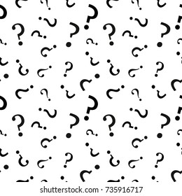 Question mark seamless pattern . Vector seamless pattern with question marks. Monochrome hipster background. Hand drawn random black punctuation marks