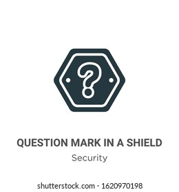 Question mark in a shield glyph icon vector on white background. Flat vector question mark in a shield icon symbol sign from modern security collection for mobile concept and web apps design.