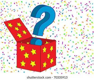 Question mark sign coming out of a box over confetti