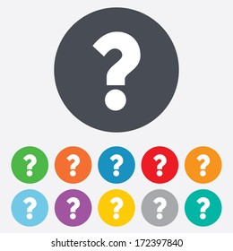 Question mark sign icon. Help symbol. FAQ sign. Round colourful 11 buttons. Vector