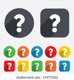 Question mark sign icon. Help symbol. FAQ sign. Circles and rounded squares 12 buttons. Vector
