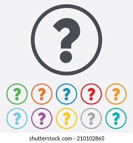 Question mark sign icon. Help symbol. FAQ sign. Round circle buttons with frame. Vector