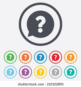 Question mark sign icon. Help speech bubble symbol. FAQ sign. Round circle buttons with frame. Vector