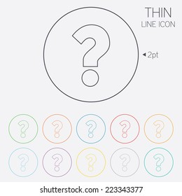 Question mark sign icon. Help symbol. FAQ sign. Thin line circle web icons with outline. Vector