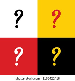 Question mark sign. Vector. Icons of german flag on corresponding colors as background.