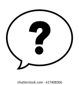 Question mark in a speech bubble icon, vector illustration.
