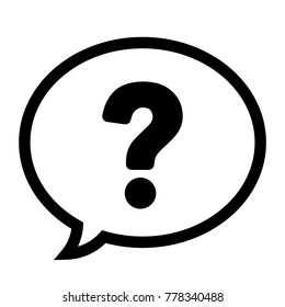 Question mark in a speech bubble icon, help symbol, vector illustration.