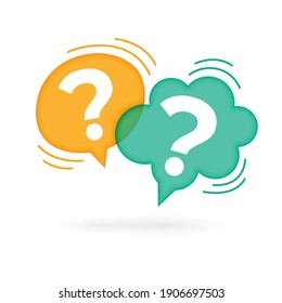 question mark speech bubble on white background