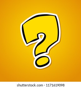 Question mark. Stylized cartoon question mark. Sticker on an orange background. Vector illustration.