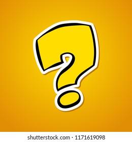 Question mark. Stylized cartoon question mark. Sticker on an orange background. Vector illustration.