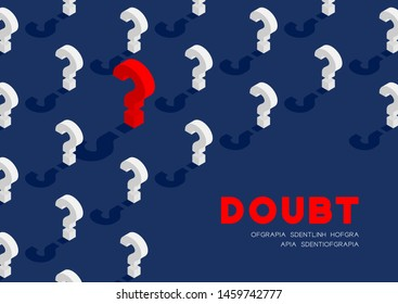 Question mark symbol 3D isometric pattern, Doubt concept poster and banner horizontal design illustration isolated on blue background with copy space, vector eps 10