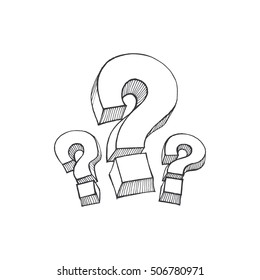 question mark, symbol of thoughts, a sketch by hand in a vector format