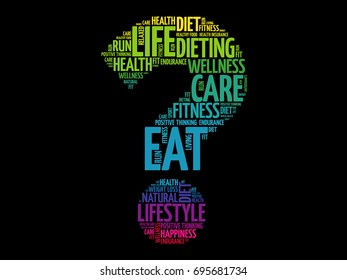 Question mark word cloud, fitness, sport, health concept