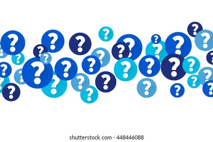 Question marks in blue circles, Flow of icons on white background