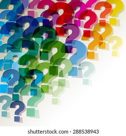 question marks colorful transparent in the corner on a white background