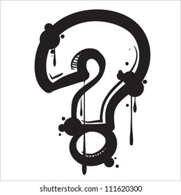 Question  marks from dirty alphabet. Vector illustration.