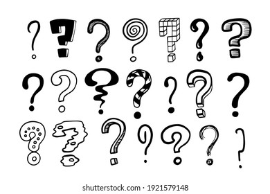 Question marks. Doodle hand drawn isolated set of interrogation signs, graphic inky punctuation icons. Vector collection of black and white asking symbols for expressing misunderstandings and doubts