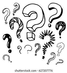 Question marks in the doodle style. Hand-drawn set. Vector illustration.