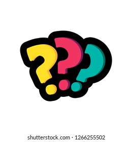 Question marks flat color illustration. FAQ, help. Interrogation signs hand drawn design element
