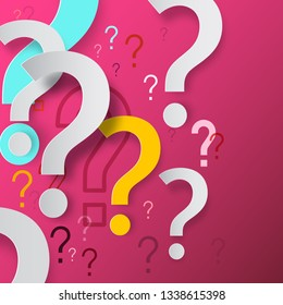 Question Marks on Pink Background. Vector Mystery and FAQ Concept. Question Mark Problem Solution Design.