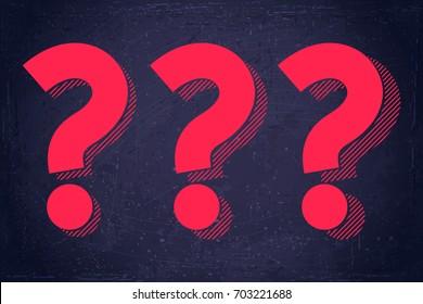 Question marks symbols set. Blue grunge background texture. Retro vector illustration